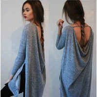 Wholesale Womens Mid Sleeve Shirts - Womens Fall Fashion Clothing sexy backless Grey Loose Boho Vestidos Dress Ladies Tunic Long Sleeve Dress free shipping
