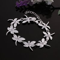 Wholesale Asian Dragonfly - Hot sale best gift 925 silver Eight Dragonfly Bracelet DFMCH121, brand new fashion 925 sterling silver Chain link bracelets