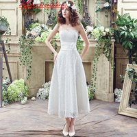 Wholesale Sexy Stocking Calf - Under 100 Short Little White Lace Wedding Dresses With Sash Beach In Stock Mid Calf 2016 Handmade Flower A Line Bridal Dress Gown