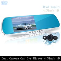 Wholesale Rearview Mirror Camera Sensors - Car Dvr Mirror Dual Camera with Rearview Camera 4.3 INCH FULL HD 1080P 170 Degree 3 In 1 Rearview Mirror + Front Car DVR + Rear view Camera