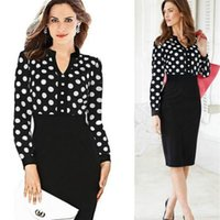 siyah çalışma bluzları toptan satış-Kadın moda eğlence giyim şerit siyah nokta şifon bluz kalem etek uzun bel OL çalışmak için ince zarif dantel