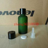 Wholesale Green Glass Essential Oil Bottle - 30ml green frosted Glass Essential Oil Bottle With shiny black aluminum cap. Oil vial, Essential Oil Container