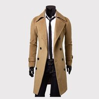 Wholesale Cheap Male Trench Coats - Wholesale- YG6183-A1237 2017 spring Autumn men black coat male han version English youth long model pure color Trench cheap wholesale