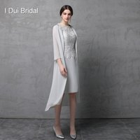 Wholesale Chiffon Long Sleeve Wedding Jacket - Knee Length Two Piece Mother of the Bride Dress with Chiffon Jacket Wedding Guest Dress Formal Wear