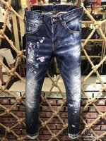 Wholesale men low waist jeans - Wholesale European and American high-quality new jeans hole low waist tight shot#1009135