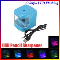 Wholesale Electric Led Lighting - NEW LED Color Changing Flashing Light Automatic USB Battery Operated Electric Cutter Knife Pencil Sharpener AUTO Desktop order<$18no track
