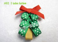 "Wholesale Fiber Christmas Trees - 50pcs 2"" Christmas tree hair clip bow accessories kids bows flower baby girls headband flower bows renda Bowknot baby hair clips HD3270"