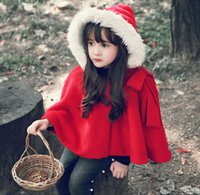 Wholesale Hooded Scarf Fur - 2016 Top Fashion Poncho New Dress Princess Cloak , Female Children Hooded Cape Wool Coat Children's Fringed Red Scarf, free Shipping