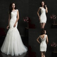 Wholesale Cheap Mermaid Skirts - Long Mermaid Wedding Dresses 2017 With Sheer Sexy Open Back Detachable Skirt Cheap White Color Romantic Formal Wedding Bridal Gown Dress