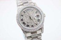 Wholesale Diamond Mens Wrist - Luxury Brand White Daimond Dial White and Diamond Belt Trend Whatches White Stainless Pointer Watches Mens Fashion Wrist Watches