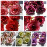 Wholesale Decorate Wedding Wholesale - Hot ! 100Pcs Artificial Flowers 7 Color Roses Flower Head Wedding Decorating Flowers 6cm