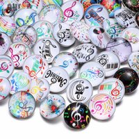 ingrosso bangles-50pcs lot Hot Wholesale Mixed Music Notes Pattern 18mm Snap Buttons DIY Jewelry Fit Snap Buttons Jewelry Bangels Bracelet