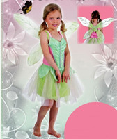Wholesale Tinker Clothing - Fashion girl Tinker Belle princess costumes size 3t-9 cosplay kids performance dress Christmas party clothing