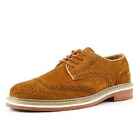 Wholesale Vintage Brogues Mens - Wholesale-EUR38-44 New Vintage Nubuck Leather oxford Brogue Wingtip mens Slip on Casual shoes