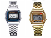 Wholesale Digital Fashion Wristband Watch - New arrive Fashion F-91W Men LED watch Ultra-thin Gold Silver Wristband Led Sports Watches Multifunction Metal Electronic F-91 Wristwatch