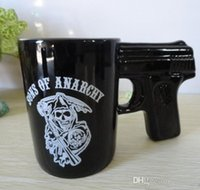 Wholesale Coffee Cup Pistol Handle - Free shipping novelty drinking mug Sons of Anarchy Gun Handle Coffee Mug Pistol Mugs Ceramic Coffee Cups