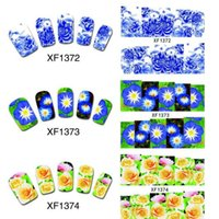 All'ingrosso-50 fogli Nail Art Flower Water Tranfer Sticker Chiodi Bellezza Wraps Foil Polish Decalcomanie Tatuaggi temporanei Filigrana XF1372-1421