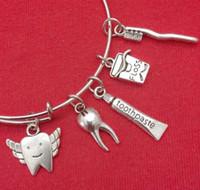 boîte à dentifrice achat en gros de-Dent Fée Dent Dentifrice Boîte Charme Extensible Fil Bracelets Vintage Argent Manchette Bracelets Pour Femmes Bijoux Mode Couple Cadeau Accessoires