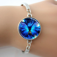 Wholesale White Gold Bangle Butterfly - Blue Glowing Butterfly Bracelet,Glass Dome Bangle,2015 New Arrive Bracelet Jewelry,Silver Set,Hot Women Cuff Bracelet