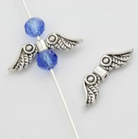Dots Angel Wing Charm Beads 200pcs / lot 23x6.9mm Antique Silver Spacers Jóias Findings L081 Novo