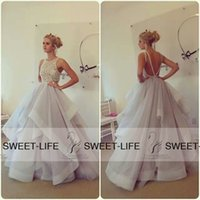 ball gown spaghetti straps wedding dress Canada - 2015 Sexy Zuhair Murad Wedding Dresses Backless Ball Gown Beading Spaghetti Ruffled Organza Sweep Train Sheer Neck Bridal Gowns Prom Dress