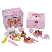 Wholesale Strawberry House Toy - Wholesale-Mother garden wooden toys strawberry ice cream cake fruit kitchen house play set