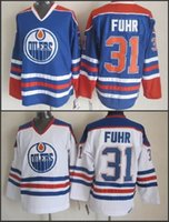 Cheap Edmonton Hockey jerseys retroceso # 31 Grant Fuhr Jersey Color de equipo azul blanco Vintage Grant Fuhr Jerseys logotipo bordado