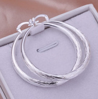 Wholesale-New Fashion Women Jewelry Stylist 925 Sterling Silver Round Big Large Hoop Huggie Loop Earrings