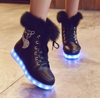 online Shopping Usb Light Shoes - 7Color Shoes Fashion LED Winter Snow Boots led glowing shoes Women USB rechargeable led light up winter SHORT FLOSS shoes DHL hot 20pcs