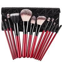 Wholesale Wood Handle For Bag - Pro 12pcs Makeup Brushes Set Foundation Powder Eyeliner Eyeshadow Brush Synthetic Hair Red Handle Evening Bag Gift for Women