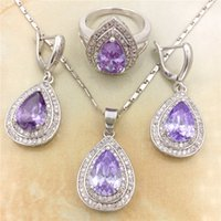 Vintage Purple CZ Diamond 925 Sterling Silver Jewelry Necklace Earring Rings Set Rhinestone hecho con cristales austriacos