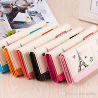 Wholesale Tower Cards Credit - Hot Sale Fashion Women Long Wallet Smooth PU leather Paris Flags Eiffel Tower Style Lady Coin Purses Clutch Wallets Money Bags free ship