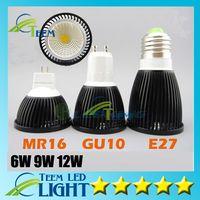 lámparas de alto brillo led e27 al por mayor-Dimmable LED COB Bombilla 6W 9W 12W cáscara negra de alto brillo Lámpara GU10 E27 85-265V / MR16 12V LED luz Luz blanca fresca proyector downlight