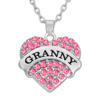 Wholesale Different Color Rhinestones - Special Design Newest factory price rhodium color single-sided initial Granny pendant different color crystal heart necklace