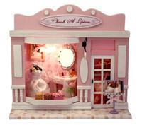 Wholesale Love Dolls Sales - doll houses for sale,Love life, diy European hut, couples with lamp DIY house, Dollhouse Miniature,diy handmade hut kit