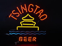 Wholesale Beer Advertising Signs - TSINGTAO BEER Neon Sign Real Glass Tube Bar Pub Store Business Advertising Home Decoration Art Gift Display Metal Frame Size 24''X20''