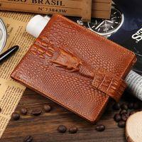 Wholesale grain photos - Hot Sale Fashion Cowhide Genuine Leather Alligator Grain Hasp Men Wallets Carteira 3 Folds Black Brown Coin Pocket Purse Wallet Free Shippin