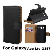 Wholesale Galaxy Ace Leather - For Galaxy Ace 4 Lte G357 Real Genuine Leather Case Wallet Credit Card Holder Stand Magnetic Cover For Samsung Lte G357