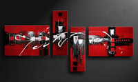 Wholesale Canvas Oil Colors - 100% Handmade Red Black White Colors Abstract Oil Painting on Canvas Wall Art 4 Piece Picture For Home Hotel Bar Cafe