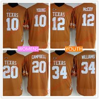 Wholesale Youth Mccoy Jersey - Womens Youth Texas Longhorns 12 Colt McCoy 10 Vince Young 20 Earl Campbell 34 Ricky Williams Stitched Throwback Orange NCAA Kids Jerseys
