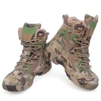 Wholesale Top Military Desert Boots - High Quality Men Military Tactical Boots Outdoor Sport Army Combat Boots Desert Hiking Camouflage High-top Boots Free Shipping