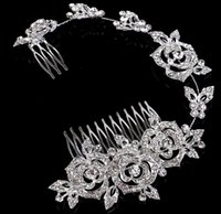 Wholesale Hairpiece Combs - 2015#HB07 Beautiful Crystals Bridal Hair Accessories Cheap Bridal Jewelries Fashion Hair Tiaras New Bridal Hairpieces