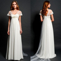 Wholesale Empire Waist Wedding Dresses Beaded - 2015 Latest Empire Maternity Wedding Dresses Eiffelbride with Sexy Shining Beaded Lace Waist and Unique Cap Sleeve Long Train Bridal Gowns