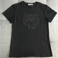 Wholesale tiger print tops women - New Fashion Men Women Tops Tiger Head Letter Print Embroidery T-shirt Cotton Short Sleeve Tshirt Women Men Tops