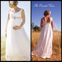 Wholesale Wedding Gowns Pregnant Bride - Bohemian Chiffon Maternity Wedding Dresses For Pregnant Bride Expire Waist Custom Made Plus Size Bridal Gowns Vestido de noiva