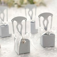 Wholesale Chair Candy Box - 2015 new Free shipping 2000pcs lot Sliver Miniature wedding Chair Candy Boxes Favor Box with Heart Charm & Ribbon