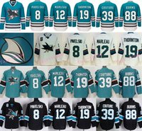 Wholesale Teal White Jersey - 2016 San Jose Sharks 8 Joe Pavelski 12 Patrick Marleau Joe Thornton Logan Couture Brent Burns Teal Green 25th Anniversary Jersey