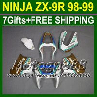 Wholesale 98 Zx9 Fairing Kits - 7gifts+Body For KAWASAKI Golden white NINJA ZX-9R ZX9R 98-99 ZX 9R P16180 98 99 1998 1999 Rothmans Gold ZX9 R Free shipping+Fairings Kits