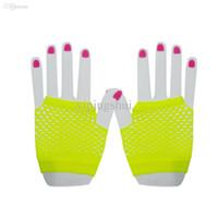 Wholesale Black Fishnet Gloves Wholesale - Wholesale-Fashion Neon Short Fishnet Gloves Fish Net Black Fancy Dress Party Dance Club Nylon+Spandex Mesh Short Gloves