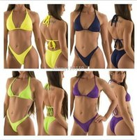 Wholesale Purple Halter Top Bikini Swimwear - Sexy 2016 Clothing Women high cut swimsuit biquini Brazilian Bikini thong swimwear Halter Top swimsuit trikini